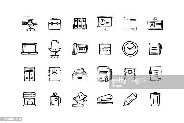 set of workspace related objects and elements. hand drawn vector doodle illustration collection. hand drawn icon set. - sketch stock illustrations