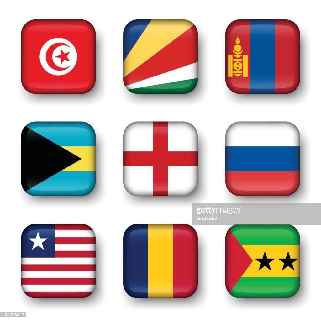 Set of world flags quadrangular badges ( Tunisia . Seychelles . Mongolia . Bahamas . England . Russia . Liberia . Chad . Sao Tome and Principe )