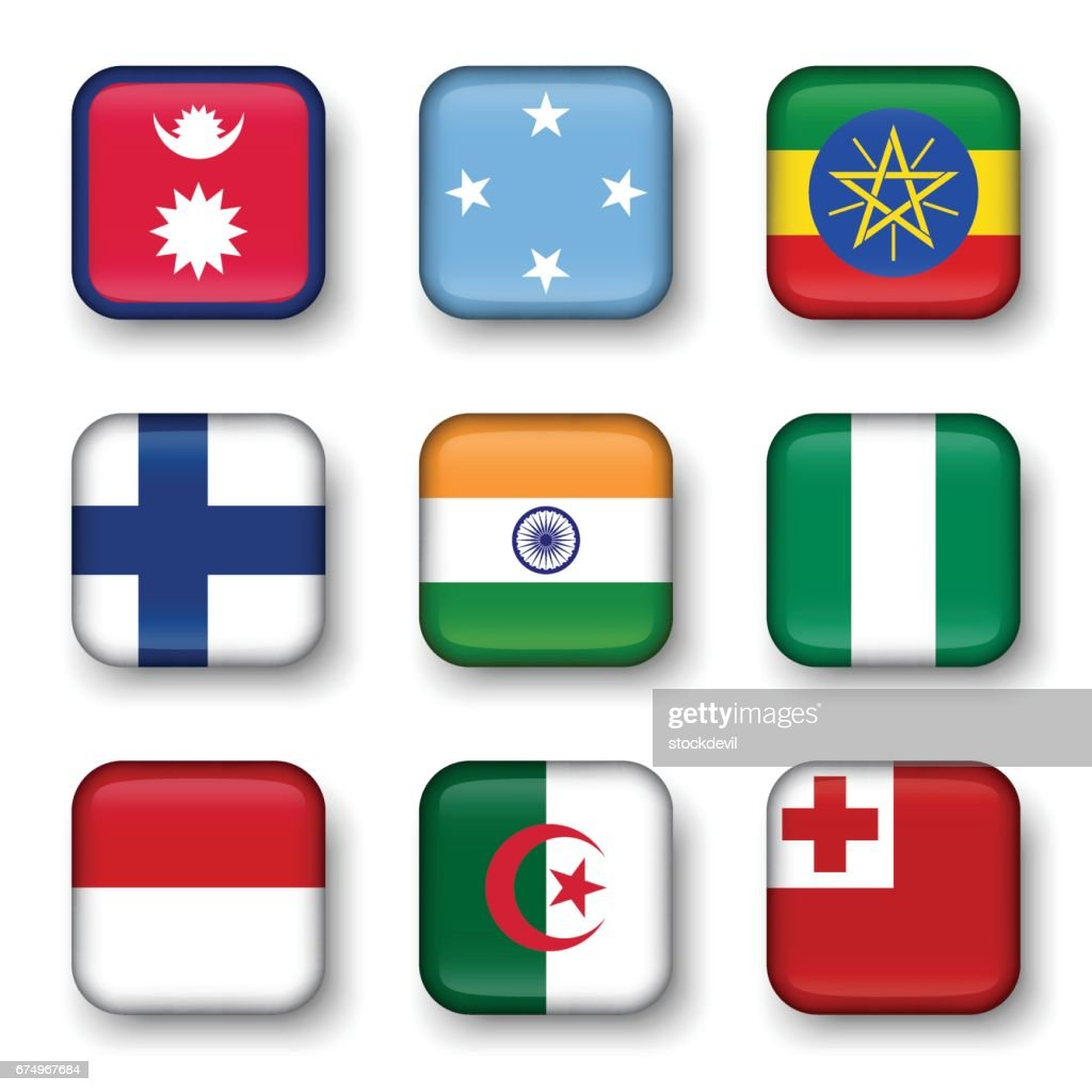 Set of world flags quadrangular badges ( Nepal . Micronesia . Ethiopia . Finland . India . Nigeria . Monaco . Algeria . Tonga )