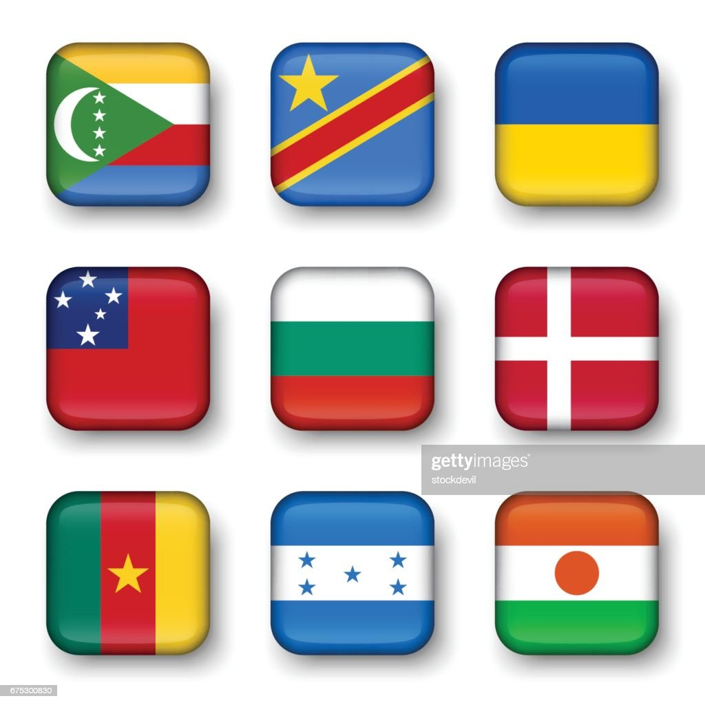 Set of world flags quadrangular badges ( Comoros . Democratic Republic of the Congo . Ukraine . Samoa , Bulgaria . Denmark . Cameroon . Honduras . Niger )