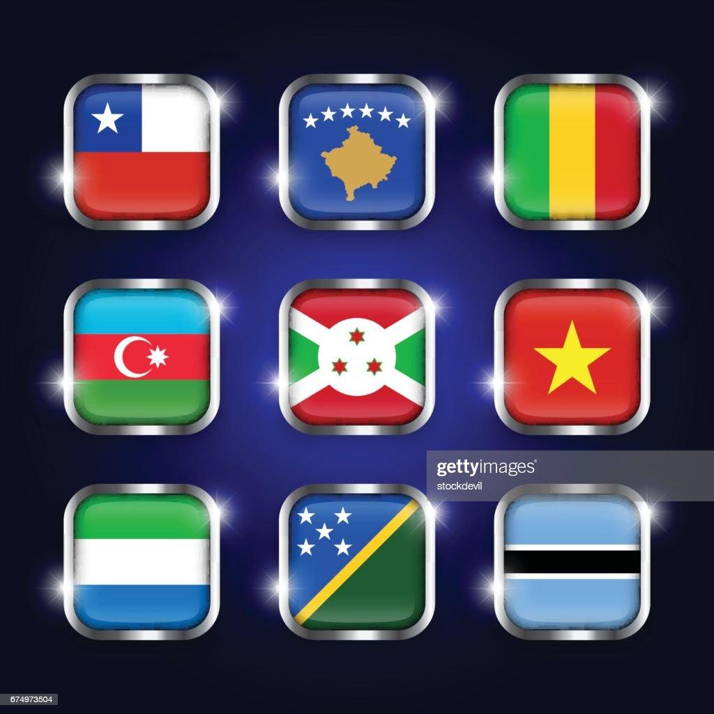 Set of world flags quadrangular glass buttons with steel border and twinkle ( Chile . Kosovo . Mali . Azerbaijan . Burundi . Vietnam . Sierra Leone . Solomon Islands . Botswana )