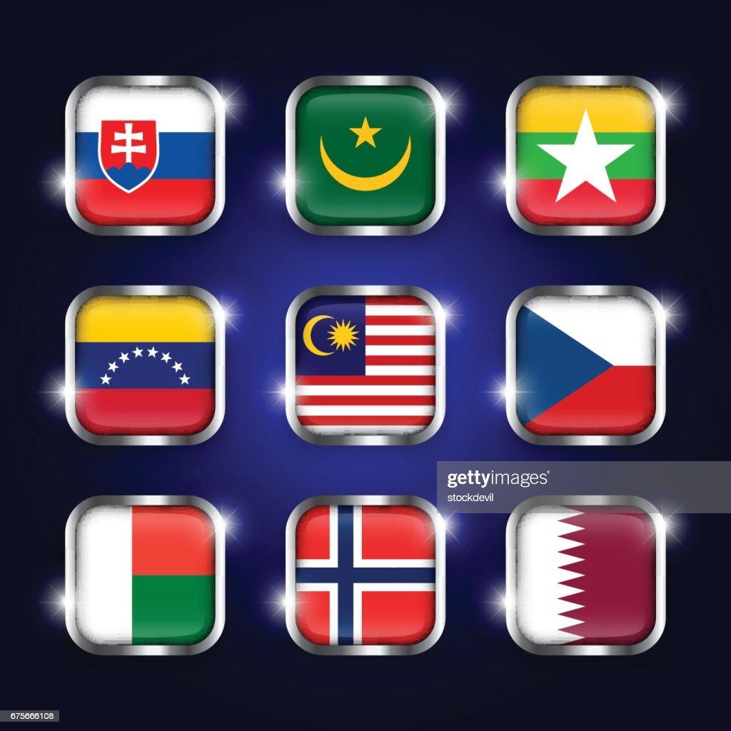 Set of world flags quadrangular glass buttons with steel border and twinkle ( Slovakia . Mauritania . Myanmar . Venezuela . Malaysia . Czech . Madagascar . Norway . Qatar )