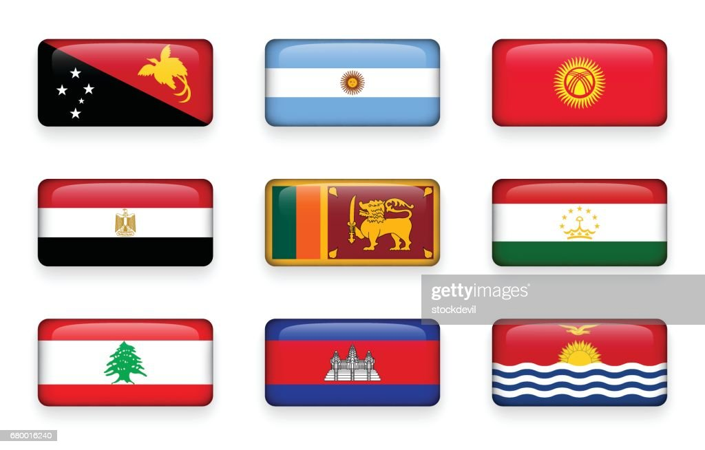 Set of world flags rectangle buttons ( Papua New Guinea . Argentina . Kyrgyzstan . Egypt . Sri Lanka. Tajikistan . Lebanon . Cambodia . Kiribati )