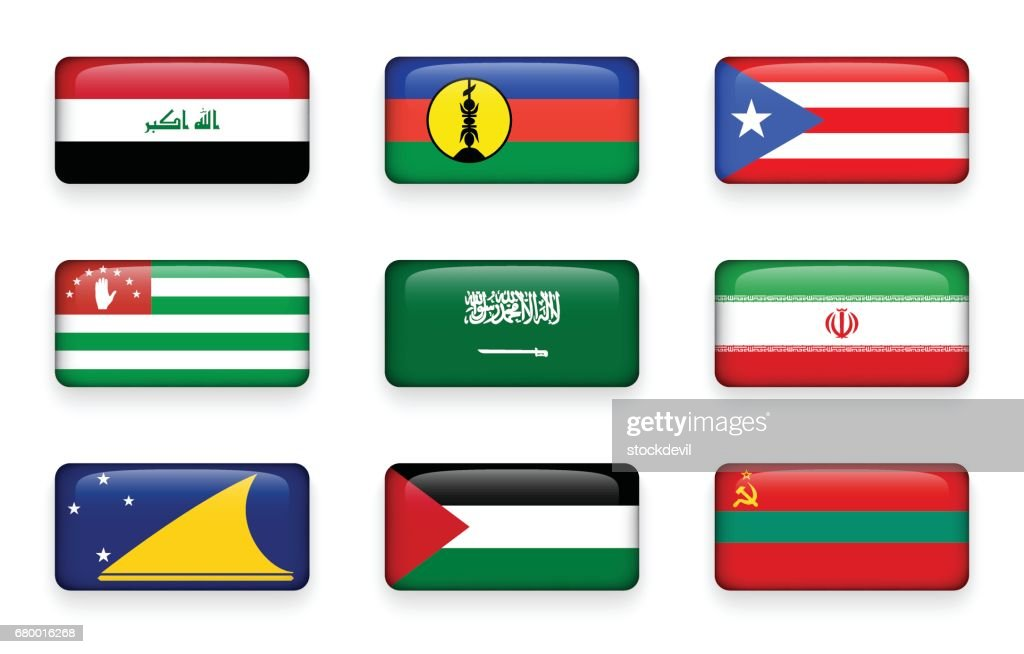 Set of world flags rectangle buttons ( Iraq . New Caledonia . Puerto Rico . Abkhazia . Saudi Arabia . Iran . Tokelau . Palestine . Transnistria )