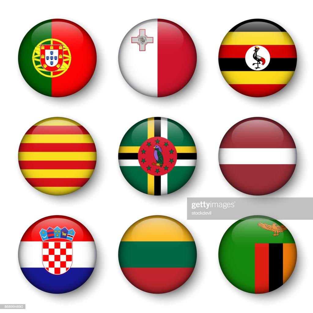 Set of world flags round badges ( Portugal . Malta . Uganda . Catalonia . Dominica . Latvia . Croatia . Lithuania . Zambia )