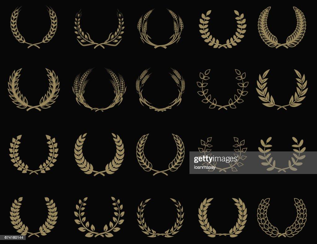 Set of wreaths icons in golden style. Design element for label, emblem, sign. Vector illustration.