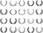 Set of wreaths isolated on white background. Design elements for label, emblem, poster, t-shirt. Vector illustration.