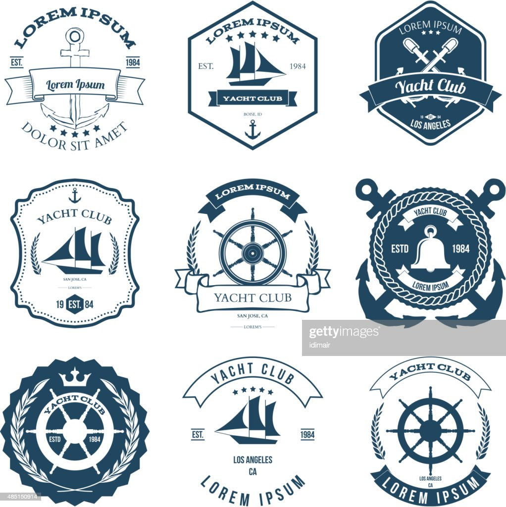 Set of Yacht Club Labels Design Elements Vector