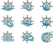 set of yacht helm wheel