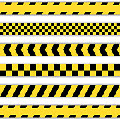 Set of yellow Barrier Tapes