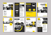 Set of yellow cover and layout brochure, flyer, poster, annual report, design templates. Use for business book, magazine, presentation, portfolio, corporate background.