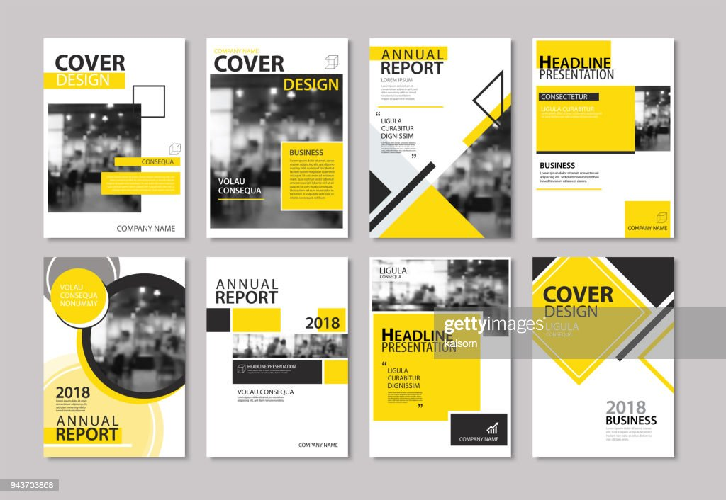 Set of yellow cover annual report, brochure, design templates. Use for business magazine, flyer, presentation, portfolio, poster, corporate background.