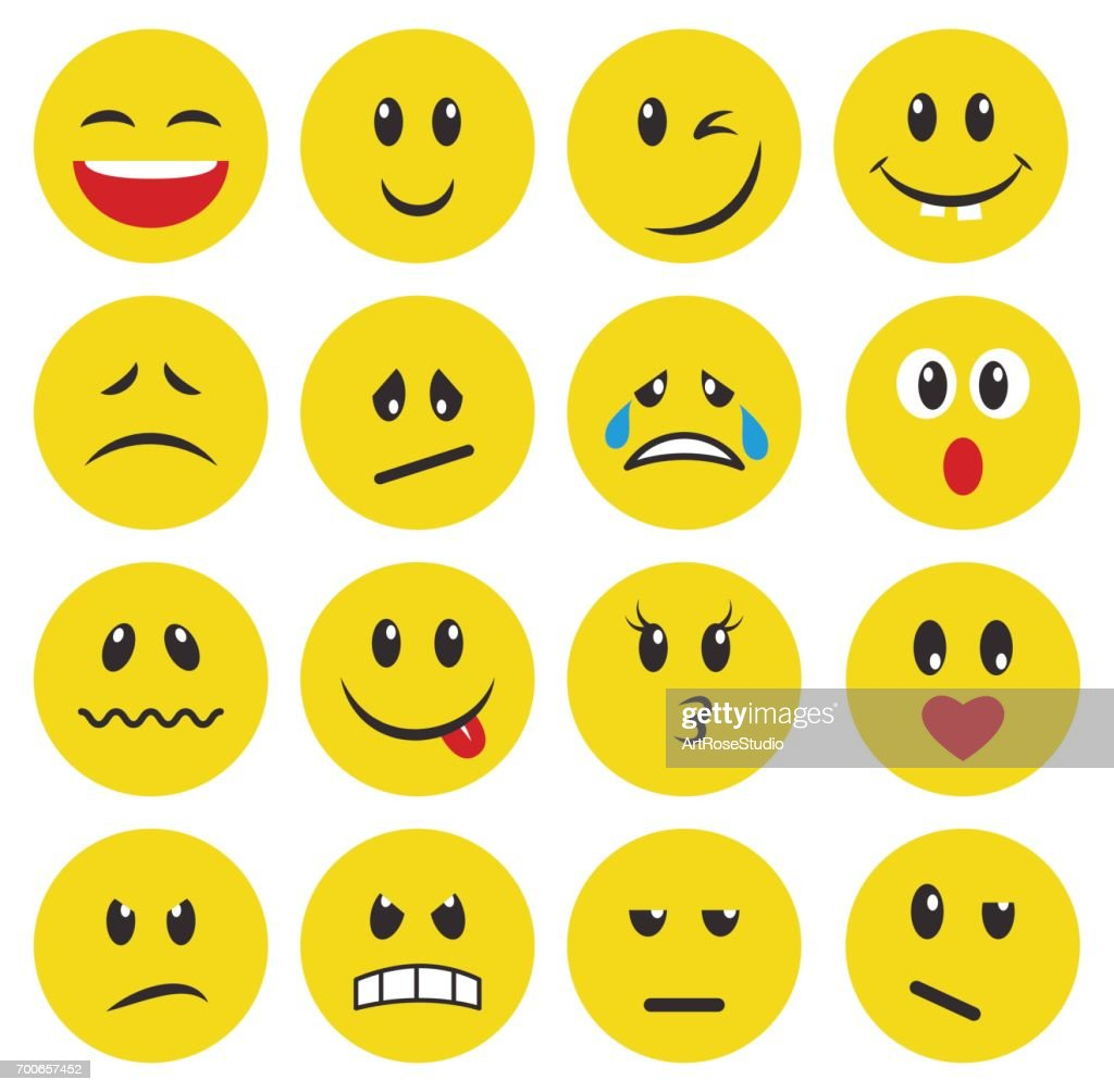 Set of yellow emoticons and emojis