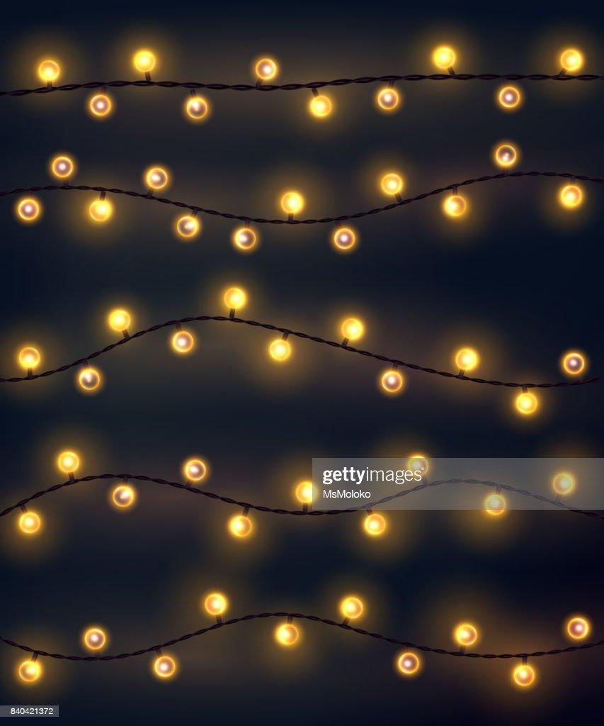 Weihnachtsbeleuchtung Glühlampen.Satz Von Gelb Girlande Stil Weihnachtsbeleuchtung Auf Den