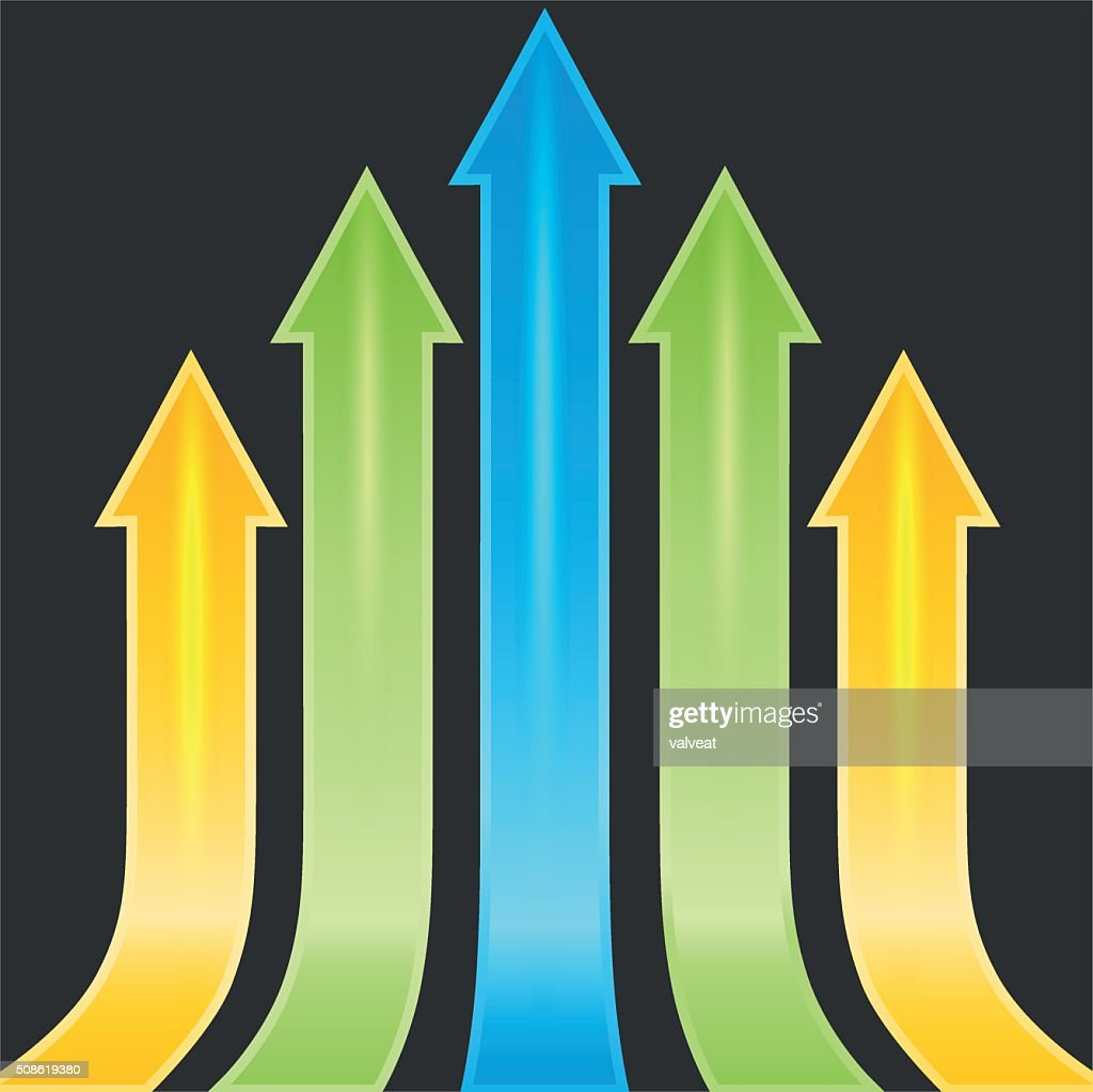 Set of yellow, green and blue arrows as sample, template, : Vector Art