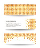 Set of yellow pixel banners with different shadows. Vector illustration.