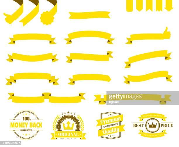 illustrations, cliparts, dessins animés et icônes de ensemble de rubans jaunes, bannières, insignes, étiquettes - éléments de conception sur fond blanc - banderole signalisation