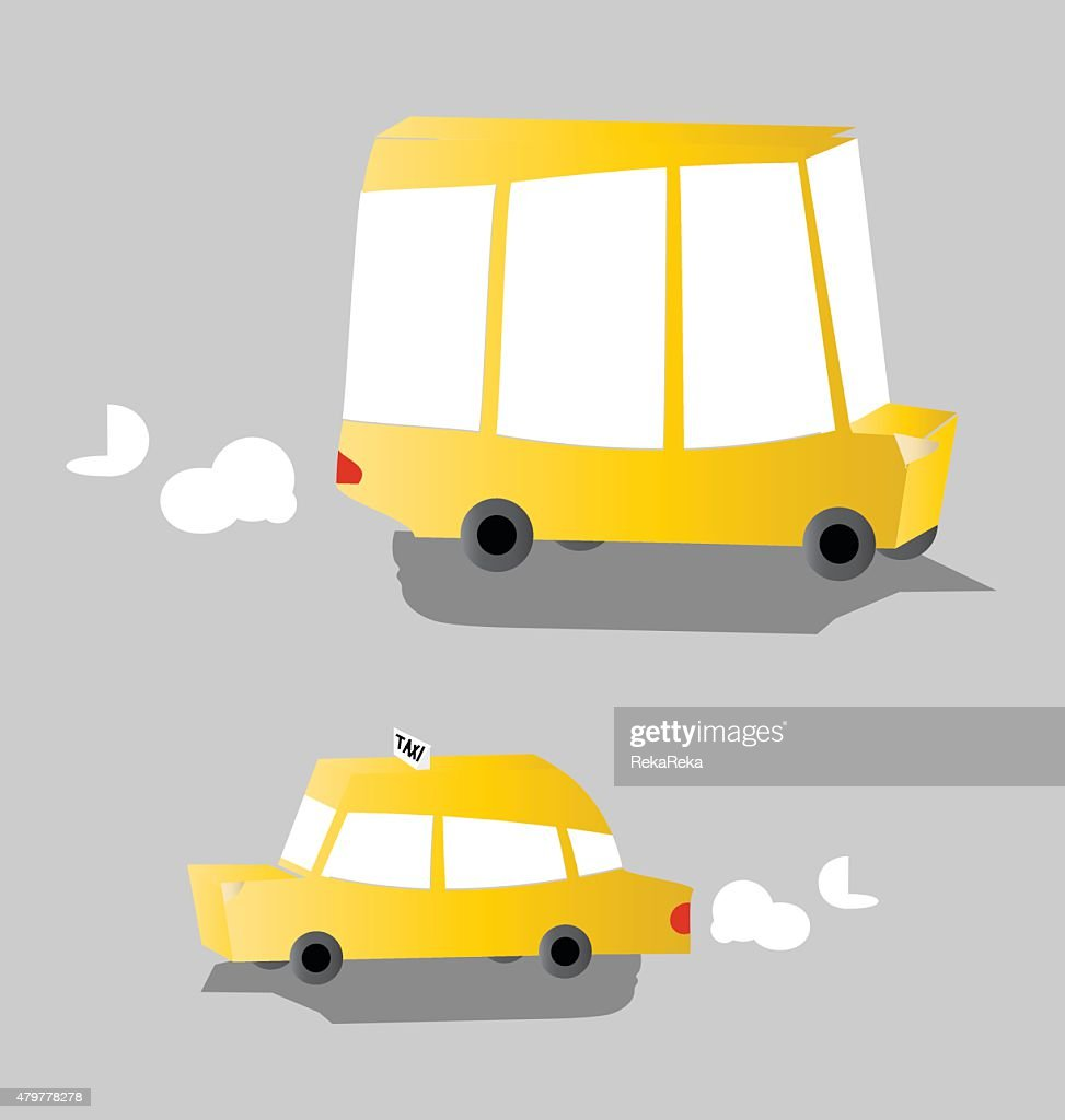 Set of yellow taxi car and a school bus