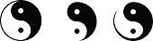 Set of yin and yang symbols. Vector illustration.