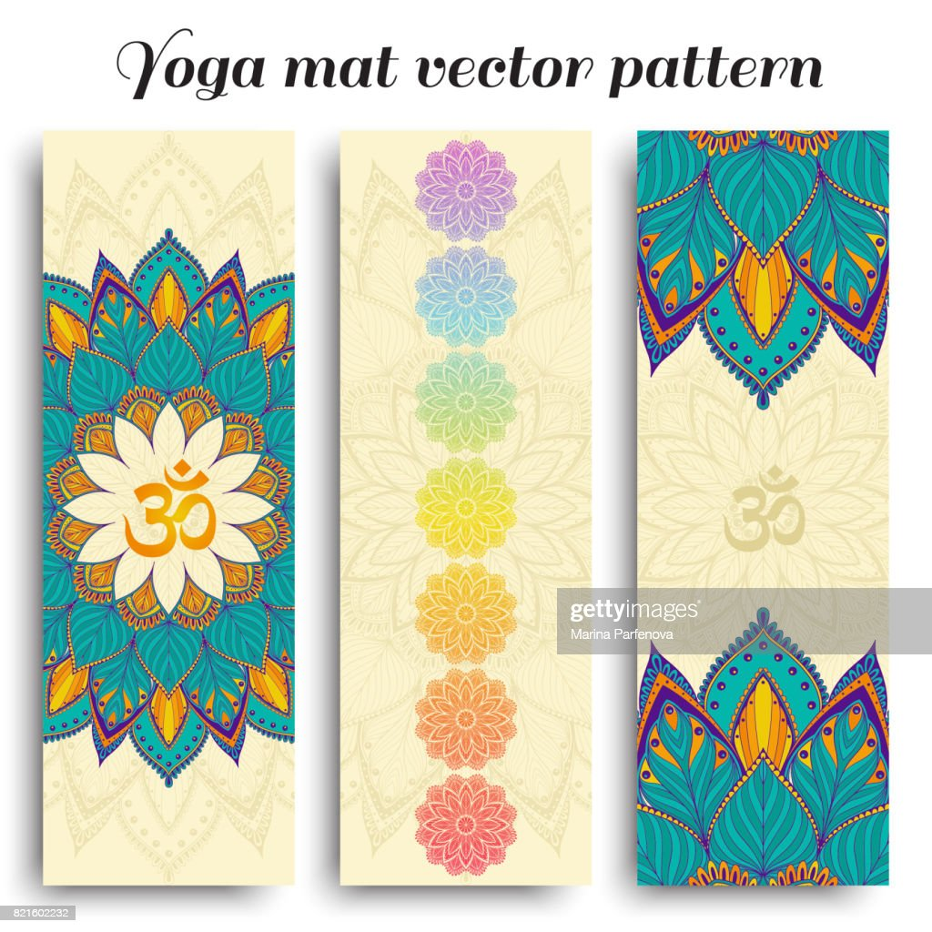 Set of yoga mat vector om and chakra pattern