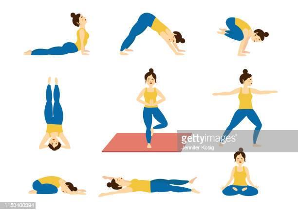 ilustraciones, imágenes clip art, dibujos animados e iconos de stock de conjunto de posturas de yoga, ilustradas - aparatos para hacer ejercicio