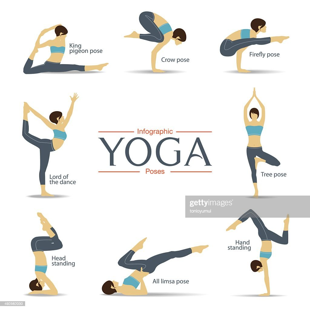 Set of yoga poses in flat design . Yoga infographics.