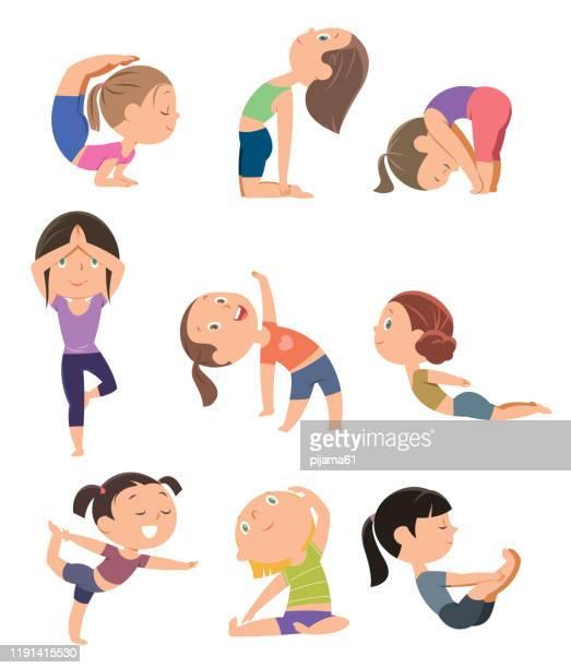 set of yoga poses - relaxation exercise stock illustrations