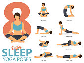 A set of yoga postures female figures for Infographic 8 Yoga poses for exercise before sleep in flat design. Woman figures exercise in blue sportswear and black yoga pant. Vector