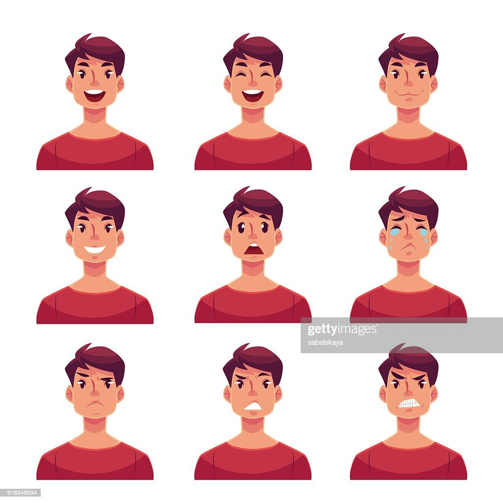 Set of young man face expression avatars
