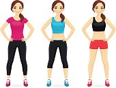 Set of young woman in different sportswear