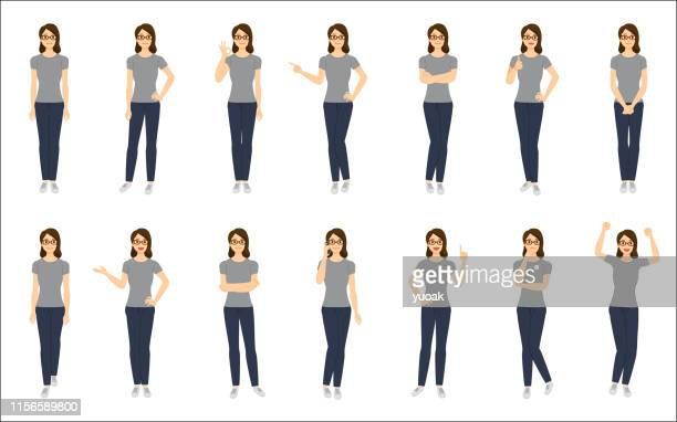 ilustrações de stock, clip art, desenhos animados e ícones de set of young woman isolated on white background - ficar de pé