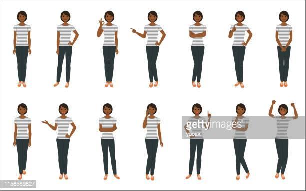 白い背景に孤立した若い女性のセット - tシャツ点のイラスト素材/クリップアート素材/マンガ素材/アイコン素材