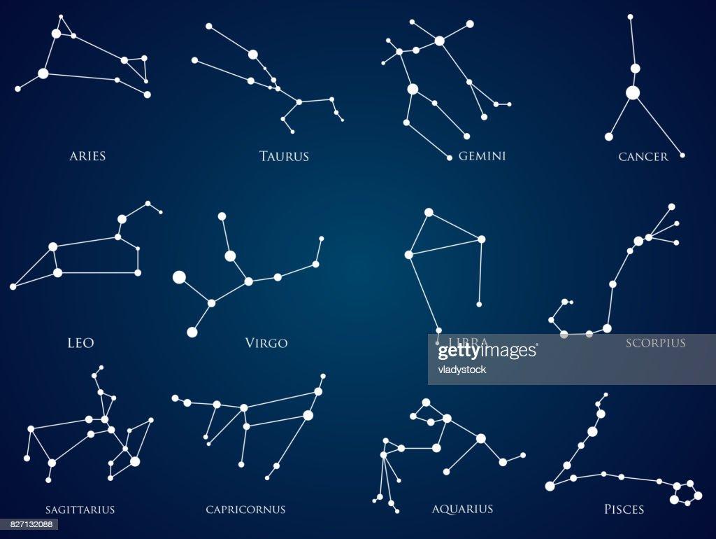 Set of zodiac constellations