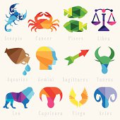 set of zodiac horoscope signs