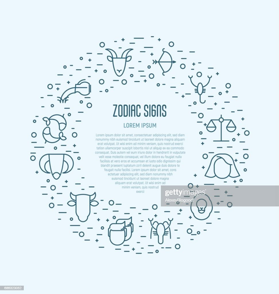 Set of zodiacal icons in circle for banner, web site or background. Vector illustration in thin line style for horoscope.