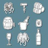 Set ofk cartoon wine stickers in hand drawn style: bottle