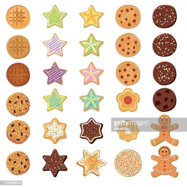 set og homemade cookies - cookie stock illustrations