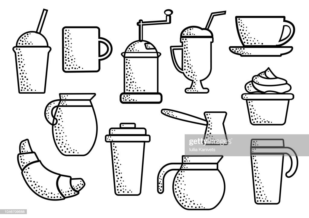 Set on coffee theme, black outline, vector illustration