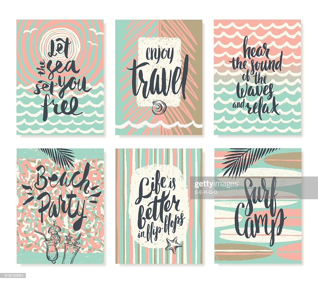 Set os summer holidays and vacation posters or greeting card