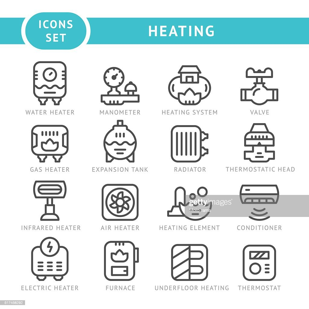 Set outline icons of heating