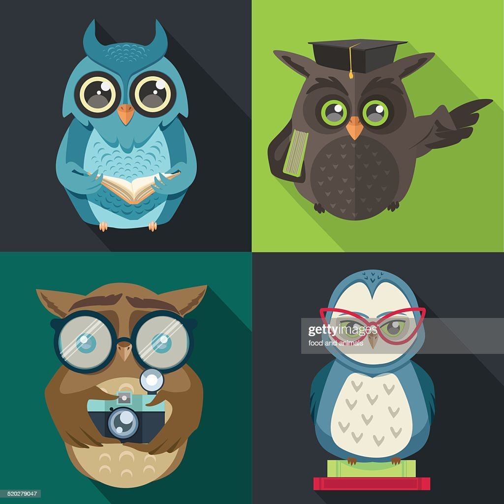 set owl with book