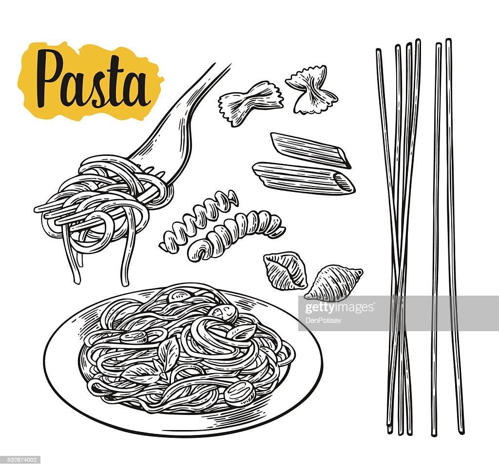 Set pasta - farfalle, conchiglie, penne, fusilli, spaghetti