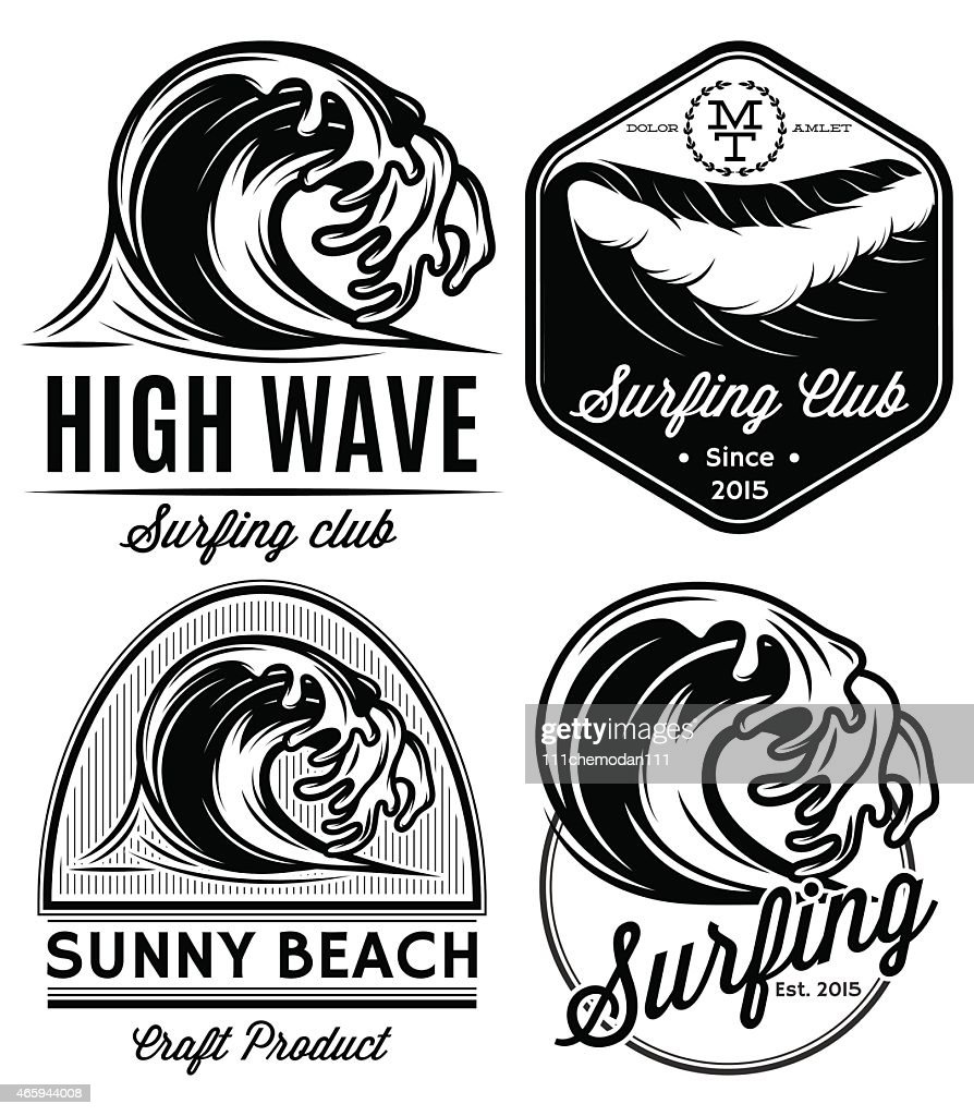 set patterns for logos on theme water, surfing, ocean, sea
