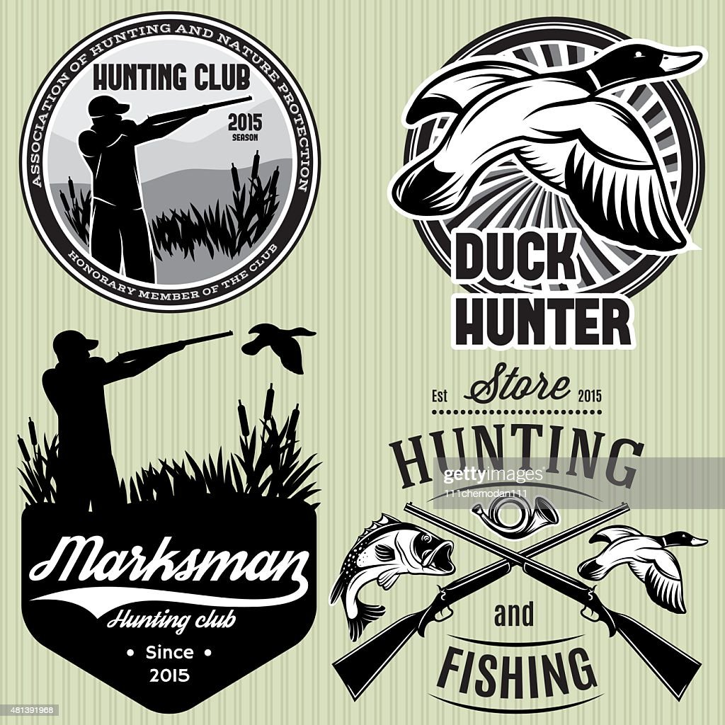 set patterns with duck, dip, gun, hunter for hunting emblem