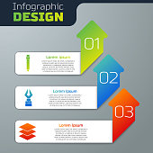 Set Pencil with eraser, Fountain pen nib and Layers. Business infographic template. Vector