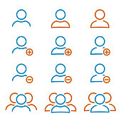 Set person and group of people icons - stock vector