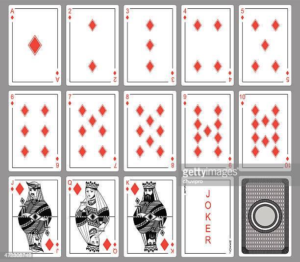 Set Playing cards of diamonds.