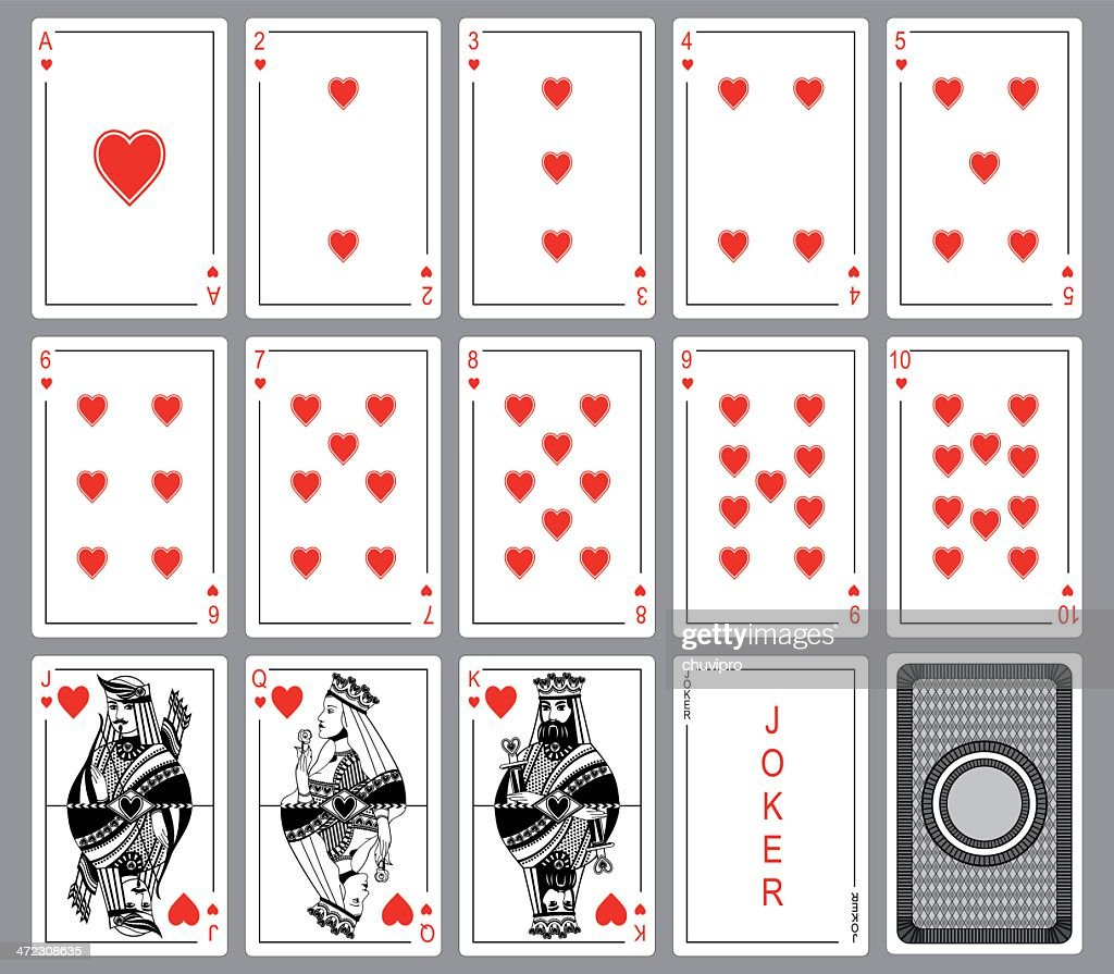 Set Playing cards of hearts.