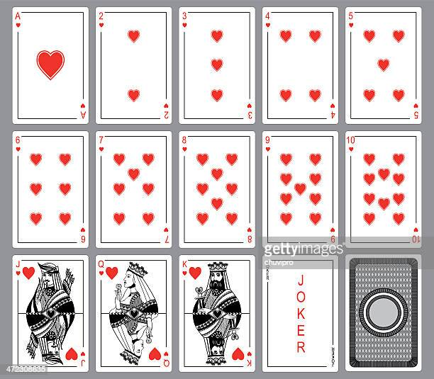 set playing cards of hearts. - queen royal person stock illustrations