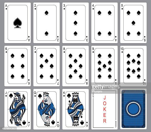 set playing cards of spades. - joker card stock illustrations, clip art, cartoons, & icons